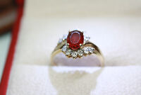 Vintage Women's 1.21 CT Natural Oval Red Garnet 10K Solid Gold Diamond Ring Sz 7