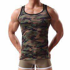 Herren Camouflage Tank Top Militär-Top Muscle Shirt Neu GR.M/L Camo Grün