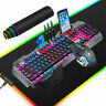 US Wired Gaming Keyboard and Mouse Combo Mechanical feel Backlit + RGB Mouse pad