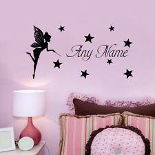 Personalised Any Name Vinyl Wall Sticker Fairy Girl With Star For Girls Bedroom