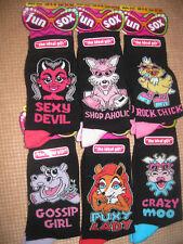 LadiesJoke/Novelty Socks,6 Designs, Size 4-8
