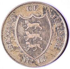 JERSEY 1813 3 SHILLINGS TOKEN .891 SILVER COIN XF-AU