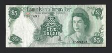 1974 CAYMAN ISLANDS $5 Dollars, P-6a, A/1 Prefix Desirable QEII Type, Orig. VF