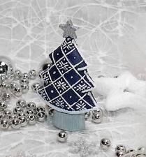 1 Weihnachtsbaum Tannenbaum blau silber weiß Tischdeko Weihnachten Tanne Baum