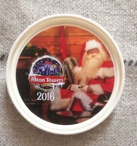 Alton Towers Theme Park Christmas 2016 White Collectable Pop Badge