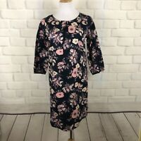 Mata Traders Floral Print Cotton Dress Black Pink Size S
