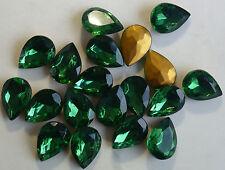 12 Vintage Glass Rhinestones Pear Tourmaline TTC Cut Foil Germany 25x18mm F1-7
