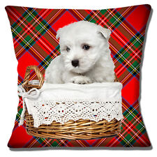 """WEST HIGHLAND WHITE WESTIE PUP IN BASKET ON RED TARTAN 16"""" Pillow Cushion Cover"""