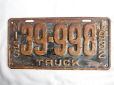 1932 Mississippi Truck License Plate Tag