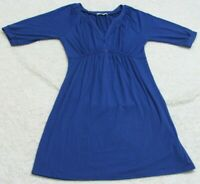 Romy Small Blue Dress Woman's Women's 3/4 Sleeve Polyester Rayon Spandex Solid