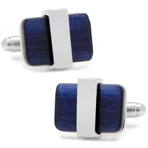 Ox and Bull Trading Co. Silver Wrapped Navy Blue Catseye Cufflinks