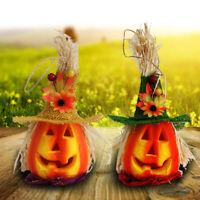 EE_ Hollow Pumpkin with Hat LED Light Lamp Lantern Halloween Party Bar Decor Mys