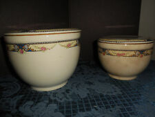 VTG UNIVERSAL CAMBRIDGE SET OF 2 BOWLS WITH LIDS ROSE DESIGN OVEN PROOF USA  EUC