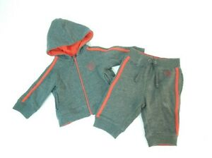 Genuine Kids OshKosh Gray Red Hooded Sweater Sweat Bottoms Outfit SZ 3-6 Months