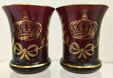 2 Ruby Red Liqueur Glasses Aperitif Shot Glass Jigger Toothpick Holder Mini Vase