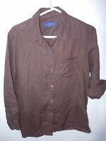 WOMENS BROWN 100% LINEN CHARTER CLUB CASUAL OVER BLOUSE TOP SHIRT SIZE PL 42