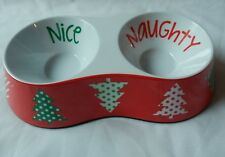 "Melamine Holiday Dog Feeding Bowl ""Naughty and Nice"" Dog Water Dish"