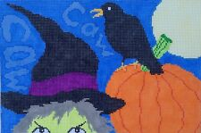 Witch and Crow Hand Painted Needlepoint Canvas