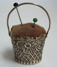 More details for lovely english antique c.1900 solid sterling silver novelty basket pin cushion