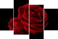 Blood Red Rose Black Back flower Floral 4 Panel Multi Panel Set Canvas Picture