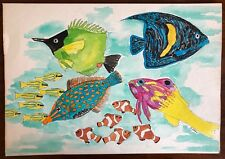 Vintage 80s Tropical Fish Aquatic Watercolor Drawing Retro Art Signed Jo Yoders