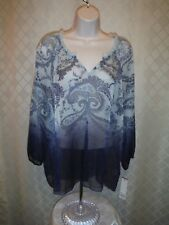 Long Sleeve Cheer Blouse XL Sonoma Multi Blue 100% polyester NWT
