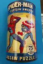 SPIDER-MAN WITH CAPTAIN AMERICA JIGSAW PUZZLE 75 PIECE MARVEL H-G TOYS 1974