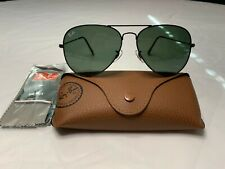 Ray-Ban Aviator Sunglasses RB3025 58mm L2823 Black Frame with Green Lenses