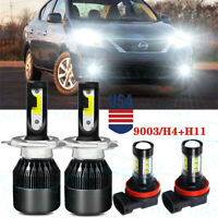 For Nissan Versa 2007-2018 Combo H4+H11 LED Headlight Kit Bulbs Hight Low Beam