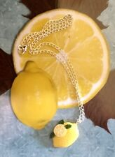 LEMON  Necklace.Pendant.Silver Chain.lobster Claw Clasp.Birthday Gift.Fruit.❌❌❌❌