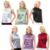 Fashion Women Casual Silk Satin T-shirt Tops Sleeveless Short Blouse Tank Vest