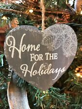 """New Kurt Adler 4"""" Country Home Gray Lace Heart Sentiment Christmas Ornament-Home"""
