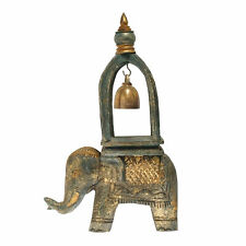 Elephant Ring of Good Fortune Bell Carved Golden Moss Wood and Brass Sculpture