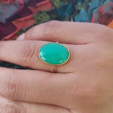 Chrysoprase Gemstone Handmade Gift Ring 18K Yellow Gold Wedding Womens Jewelry