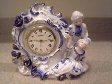 Porcelain Linden Wind up Alarm Shelf Clock~Colonial Couple Courting Scene, Japan