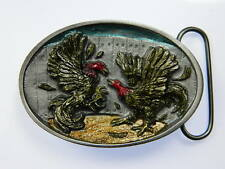 Cockfighting Chicken Farm Fighting Gamecock Rooster Spurs 1986 Belt Buckle