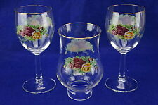 Royal Albert Old Country Roses 1-Glass Hurricane Lamp, Globe Only & (2) Goblets