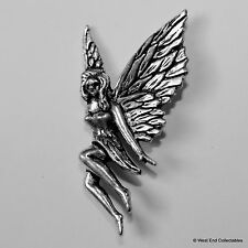 Flying Fairy Pewter Brooch Pin -British Artisan Signed Badge- Tooth Fairy