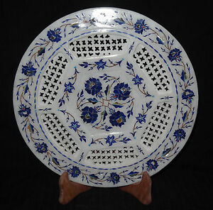 """11"""" Marble Plate Lapis Lazuli Floral Design Marquetry Inlay Work Home Decor Arts"""