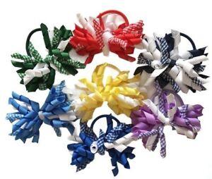 Gingham School Hair Bow Korker Ribbon Elastic Bobble UK Seller 🇬🇧