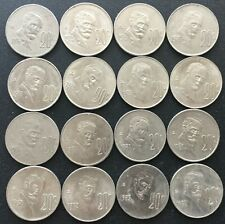 MEXICO 1974-1983  20 CENTAVOS COMPLETE SET of 16 COINS WITH VARIETIES
