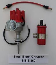 CHRYSLER 318 & 360 RED Small Female Cap HEI Distributor + RED Round 45K Coil