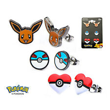 Officially Licensed Pokemon Stud Earring Set - Eevee Great Ball Poke Ball *NEW*