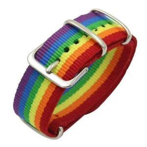 NEW Bracelet Nylon Rainbow Pride Gay LGBTQ Wristband Fully Adjustable