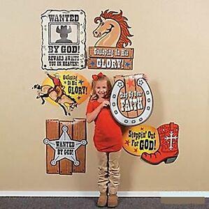 (6pc) LARGE WESTERN FAITH CUTOUTS COWBOY COWGIRL PARTY SIGN VBS FAITH CUTOUT