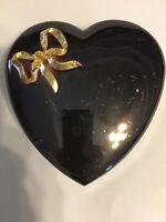 Heart Shaped Metal Trinket Box Jewelry Box With Gold Bowl, Heavy