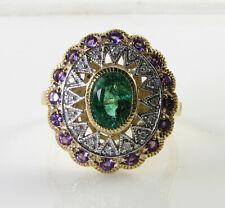 BIG 9K 9CT GOLD EMERALD DIAMOND AMETHYST ART DECO INS SUNBURST RING FREE RESIZE