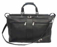 Piel Leather Carpet Bag w/Pockets, Genuine Leather Carry-On in Black (SALE!)