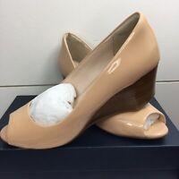 Cole Haan Sadie Open Toe Wedge Pump Women's Size 9.5 Beige Nude Tan Patent