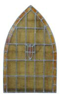 """Antique Reclaimed Gothic Victorian Arched Stained Leaded Slag Glass Window 30"""""""